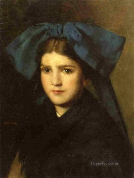 Portrait of a Young Girl with a Bow in Her Hair Jean Jacques Henner Oil Paintings