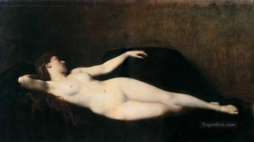 donna sul divano nero nude Jean Jacques Henner Oil Paintings