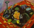 Dishes and Fruit on a Red and Black Carpet 1906 abstract fauvism Henri Matisse