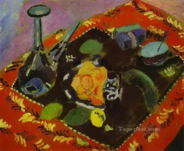 fauvism - Dishes and Fruit on a Red and Black Carpet 1906 abstract fauvism Henri Matisse