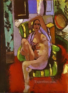 Chair Painting - Nude Sitting in an Armchair abstract fauvism Henri Matisse