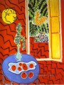 Red Interior Still Life on a Blue Table abstract fauvism Henri Matisse