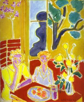 Henri Matisse Painting - Two Girls with Yellow and Red Background 1947 abstract fauvism Henri Matisse