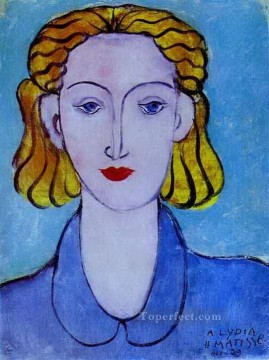 fauvism - Young Woman in a Blue Blouse Portrait of Lydia Delectorskaya abstract fauvism Henri Matisse