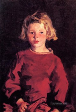 Henri Robert Painting - Bridget in Red portrait Ashcan School Robert Henri