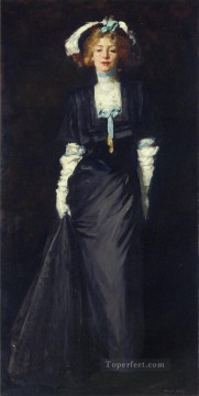 White Art - Jessica Penn in Black with White Plumes portrait Ashcan School Robert Henri