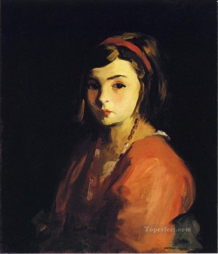 Henri Robert Painting - Little Girl in Red portrait Ashcan School Robert Henri