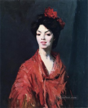 Henri Robert Painting - Spanish Woman in a Red Shawl portrait Ashcan School Robert Henri