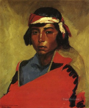 Henri Robert Painting - Young Buck of the Tesuque Pueblo portrait Ashcan School Robert Henri