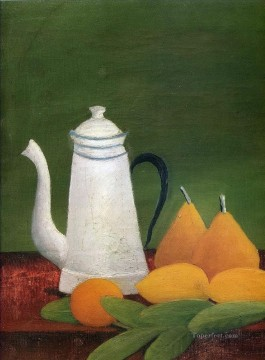 still Canvas - still life with teapot and fruit Henri Rousseau Post Impressionism Naive Primitivism