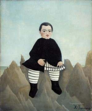 post impressionist Painting - Boy on the Rocks enfant aux rochers Henri Rousseau Post Impressionism Naive Primitivism