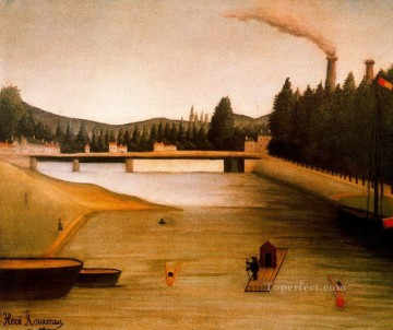 post impressionist Painting - bathing at alfortville Henri Rousseau Post Impressionism Naive Primitivism