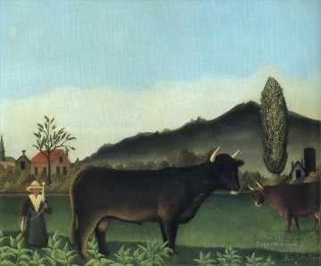 cattle bull cow Painting - bull in field 191345 Henri Rousseau Post Impressionism Naive Primitivism