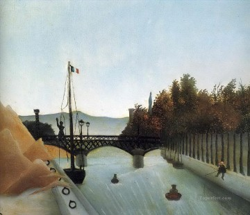post impressionist Painting - footbridge at passy 1895 Henri Rousseau Post Impressionism Naive Primitivism