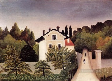 post impressionist Painting - house on the outskirts of paris 1902 Henri Rousseau Post Impressionism Naive Primitivism