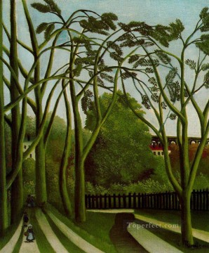 post impressionist Painting - landscape on the banks of the bievre at becetre 1909 Henri Rousseau Post Impressionism Naive Primitivism