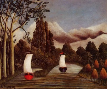 post impressionist Painting - the banks of the oise 1905 Henri Rousseau Post Impressionism Naive Primitivism