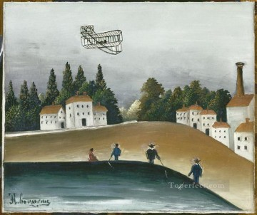 Henri Rousseau Painting - the fishermen and the biplane 1908 Henri Rousseau Post Impressionism Naive Primitivism
