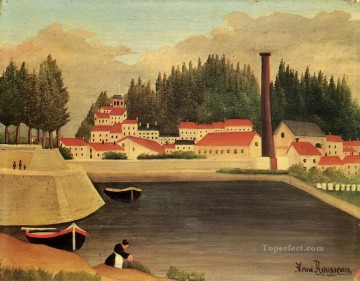 village near a factory 1908 Henri Rousseau Post Impressionism Naive Primitivism Oil Paintings