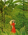 woman in red in the forest Henri Rousseau Post Impressionism Naive Primitivism