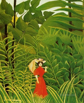 woman in red in the forest Henri Rousseau Post Impressionism Naive Primitivism Oil Paintings