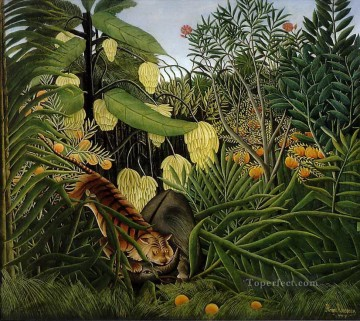 post impressionist Painting - Combat of a Tiger and a Buffalo Henri Rousseau Post Impressionism Naive Primitivism
