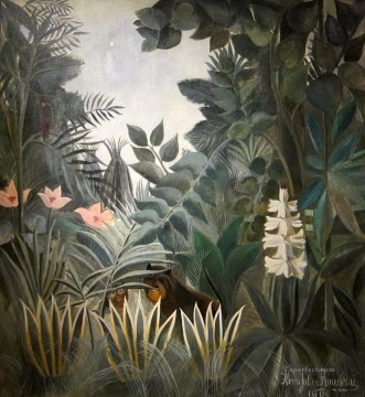 Henri Rousseau Painting - The Equatorial Jungle Henri Rousseau Post Impressionism Naive Primitivism