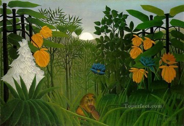 post impressionist Painting - The Repast of the Lion Henri Rousseau Post Impressionism Naive Primitivism