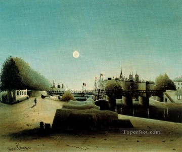 post impressionist Painting - a view of the ile saint louis from port saint nicolas evening Henri Rousseau Post Impressionism Naive Primitivism