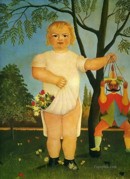 post impressionist Painting - child with a puppet Henri Rousseau Post Impressionism Naive Primitivism
