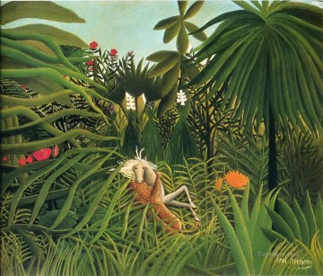 post impressionist Painting - jaguar attacking a horse 1910 Henri Rousseau Post Impressionism Naive Primitivism