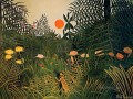 negro attacked by a jaguar 1910 Henri Rousseau Post Impressionism Naive Primitivism