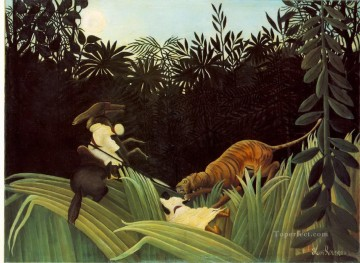 post impressionist Painting - scout attacked by a tiger 1904 Henri Rousseau Post Impressionism Naive Primitivism