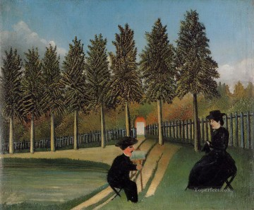 the artist painting his wife 1905 Henri Rousseau Post Impressionism Naive Primitivism Oil Paintings