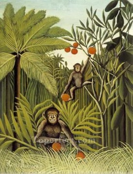 Henri Rousseau Painting - the monkeys in the jungle 1909 Henri Rousseau Post Impressionism Naive Primitivism
