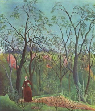 post impressionist Painting - the walk in the forest 1890 Henri Rousseau Post Impressionism Naive Primitivism