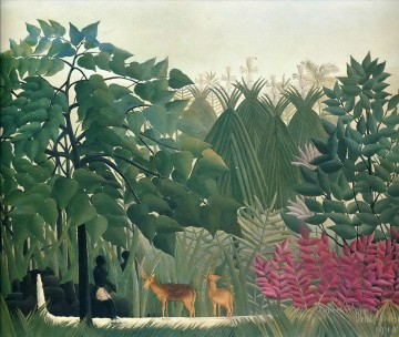 post impressionist Painting - the waterfall 1910 Henri Rousseau Post Impressionism Naive Primitivism