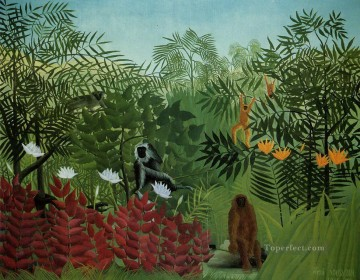Henri Rousseau Painting - tropical forest with apes and snake 1910 Henri Rousseau Post Impressionism Naive Primitivism