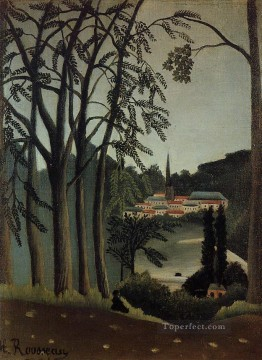 Henri Rousseau Painting - view of saint cloud 1909 Henri Rousseau Post Impressionism Naive Primitivism