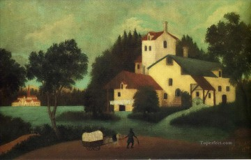 Henri Rousseau Painting - wagon in front of the mill 1879 Henri Rousseau Post Impressionism Naive Primitivism
