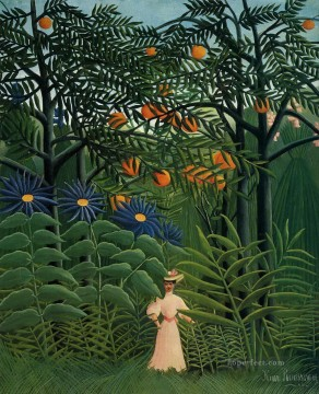 post impressionist Painting - woman walking in an exotic forest 1905 Henri Rousseau Post Impressionism Naive Primitivism