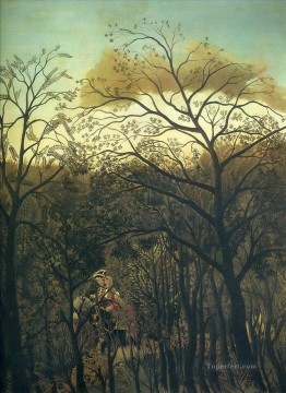 post impressionist Painting - rendez vous in the forest 1886 Henri Rousseau Post Impressionism Naive Primitivism