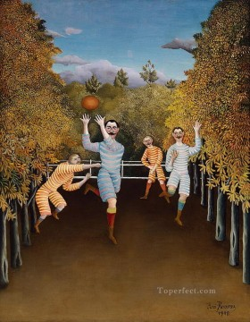 Henri Rousseau Painting - The Football Players Henri Rousseau Post Impressionism Naive Primitivism