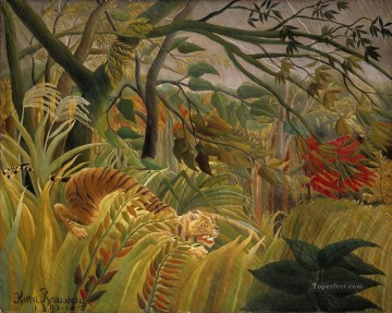 Henri Rousseau Painting - Tiger in a Tropical Storm Surprised Henri Rousseau Post Impressionism Naive Primitivism