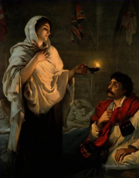 The Lady with the Lamp Miss Nightingale at Scutari Nightingale at a patient Henrietta Rae Oil Paintings