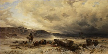 Hermann David Salomon Corrodi Painting - Camel train in a sandstorm Hermann David Salomon Corrodi orientalist scenery