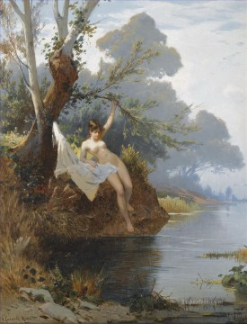 Hermann David Salomon Corrodi Painting - con la riva del fiume Hermann David Salomon Corrodi orientalist scenery
