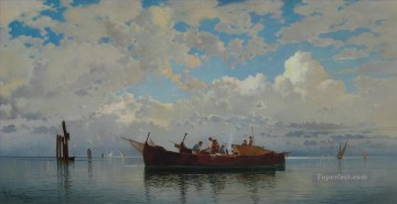 barche da pesca su una laguna di venezia Hermann David Salomon Corrodi orientalist scenery Oil Paintings