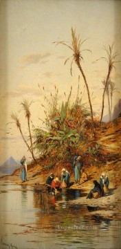 Hermann David Salomon Corrodi Painting - wasserholerinnen bei gizeh Hermann David Salomon Corrodi orientalist scenery