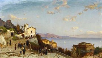 Hermann David Salomon Corrodi Painting - villaggio di montagna sulla costa ligure Hermann David Salomon Corrodi orientalist scenery